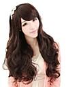 linda mulher estrondo lado longo perucas onduladas sintetico