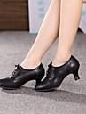 Non Customizable Women\'s Dance Shoes Modern Leather Cuban Heel Black