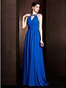 Lanting Bride® Hof Schleppe Chiffon / Stretch - Satin Brautjungfernkleid - Eng anliegend Schmuck UEbergroesse / Zierlich mitPerlstickerei /