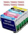 Bloom® T0801-T0806 cartouche d\'encre rechargeable pour epson photo R265 / R360 / R285 / p50 / PX820 / PX700W / PX50 (6 couleurs 1set)