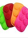 6 hål rose form tårta is gelé choklad formar, silikon 25 × 16,5 × 3,5 cm (9,9 × 6,5 × 1.4inch) slumpmässig färg