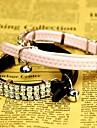 Katter / Hundar Halsband Justerbara/Infällbar / Bergkristall Svart / Rosa PU Läder