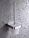 HPB Contemporary Chrome Finish Brass and Stainless Steel Wall Mounted Toilet Brush Holder with Glass Cup