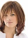 Capless mix färg medellång högkvalitativa naturliga rakt hår syntetisk peruk med full bang
