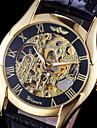 WINNER Bărbați Ceas de Mână ceas mecanic Mecanism automat Gravură scobită Piele Bandă Negru Auriu