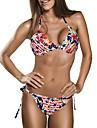 Women\'s Halter Bikinis , Geometric Wireless Cotton Blends Multi-color