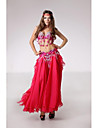 Belly Dance Outfits Women\'s Performance Chiffon Sequined Silk Buttons Paillettes Sequins Dropped