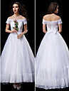 Lanting Bride® A-line / Princess Petite / Plus Sizes Wedding Dress Ankle-length Off-the-shoulder Lace / Tulle with