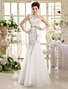 Trumpet / Mermaid Wedding Dress Floor-length One Shoulder Organza with Appliques / Beading / Sash / Ribbon