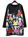 Damă Casul/Zilnic Plus Size Drăguț(e) Tricou Rochie-Imprimeu Manșon Lung Rotund Sub Genunchi Primăvară Toamnă Talie Medie Strech Subțire