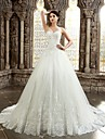 A-line Petite / Plus Sizes Wedding Dress - Classic & Timeless Lacy Looks Chapel Train Sweetheart Lace