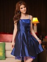 Knee-length Satin Bridesmaid Dress A-line / Princess Spaghetti Straps with Sequins