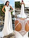 Lanting noiva uma linha petite / mais tamanhos de casamento vestido de tribunal trem v-neck chiffon