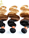 "4 Pcs Lot 14""-28"" Ombre Brazilian Virgin Human Hair Extensions/Weaves Body Wave 3 Three Tone Black Brown Blonde 1B/4/27#"