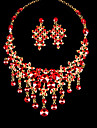 Red Alloy Wedding/Party Jewelry Set With Rhinestone