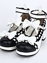 Chaussures Doux Lolita Talon haut Chaussures Noeud papillon 4.5 CM Noir Pour Femme Cuir PU/Cuir polyurethane