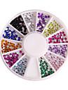 12 Color 2mm Circular Manicure Acrylic Diamond Nail Jewelry
