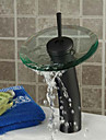 ORB Round Solid Brass Waterfall Sink Basin Faucet / Glass Spout-Black + Transparent Green