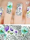 1X10PCS Full-cover Nail Art Stickers Leopard Print Series XF1479