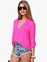 Chemises informelles ( Mousseline ) Informel Col V a Manches longues pour Femme