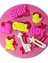 quatre c gateau en silicone tasse moule fille de garcon et le bebe sugarpaste moule, outils fondant de fournitures de decoration couleur rose