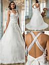 lanting novia una linea / princesa pequena / mas el tamano de la boda del vestido de barrido / cepillo tren de organza de las correas