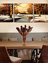 e-Home® Sträckta Canvas konst snön skogen dekorativt måleri uppsättning av 3