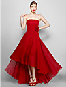 ts couture® vestido de noite plus size / petite uma linha sem alcas assimetricas chiffon formal com flor (s)