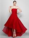 ts couture® formell kjole plus size / tynn a-linje stroppeloes asymmetrisk chiffon med blomst (er)