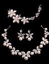 Ladies\'/Women\'s Alloy Wedding/Party Jewelry Set With Imitation Pearl/Rhinestone