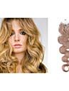 1pc / lot 20inch / 50cm 100s / pack 0,8 g / s multicolors wavy micro ringen hårförlängning grade5a människohår förlängning