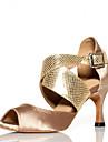 Chaussures de danse(Noir Bleu Or) -Non Personnalisables-Talon Bobine-Satin-Latine