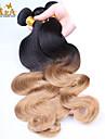 """3pcs / lot 10 """"-24"""" obearbetat peruanska virgin hår två tonar 1b / 27 ombre vågigt människohår väva"""
