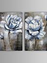 Peint a la main Abstrait / A fleurs/Botanique Deux Panneaux Toile Peinture a l\'huile Hang-peint For Decoration d\'interieur