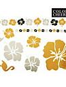 Tatueringsklistermärken - Mönster - Blomserier - till Dam/Girl/Vuxen/Tonåring - Guld - Papper - #(1) - styck #(23x15)