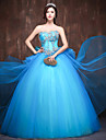 Formal Evening Dress Ball Gown Sweetheart Floor-length Satin / Tulle / Polyester with Bow(s) / Crystal Detailing / Ruffles