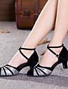 Chaussures de danse (Rouge/Argent/Or) - Non personnalisable - Talon Large - Satin/Suede/Paillette - Moderne