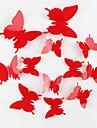 protection de l\'environnement papillon mur 3D autocollants 12pcs / set rouge
