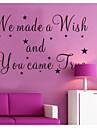 Vi gjorde en önskan och du kom sant väggdekaler zooyoo8137 dekorativa flyttbar vinyl väggdekorationer