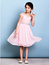 Lanting Bride Knee-length Chiffon / Lace Junior Bridesmaid Dress A-line Off-the-shoulder with Bow(s) / Crystal Detailing / Sash / Ribbon