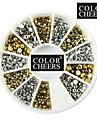 Hemisphere nail art d\'or et d\'argent des decorations de 500pcs mixs