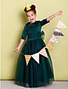 Lanting Bride A-line Floor-length Flower Girl Dress - Satin / Tulle Half Sleeve Jewel with Bow(s) / Sash / Ribbon