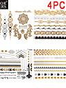 4 - Series bijoux - Dore/Noir/Argente - Motif - 23x15.5x0.5 - Tatouages Autocollants - color cheers -