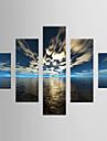 HANDMÅLAD LandskapModerna Fem paneler Kanvas Hang målad oljemålning For Hem-dekoration