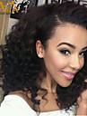 """8 """"-26"""" peruanska jungfru hår lockigt limfria spets front peruk färg naturligt svart baby hår för svarta kvinnor"""
