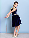 Knee-length Velvet Junior Bridesmaid Dress - Dark Navy A-line Jewel