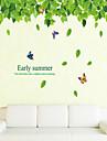 les feuilles vertes autocollants mur de style autocollants de mur et stickers muraux PVC pur et frais