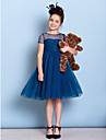 Lanting Bride Knee-length Tulle Junior Bridesmaid Dress A-line Jewel with Criss Cross / Ruching