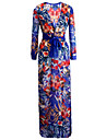 Women\'s Sexy Beach Casual Night Club Party Print Maxi Dress with Belt