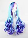 de nya tecknade färg peruk blå höjdpunkter lockigt hår peruker